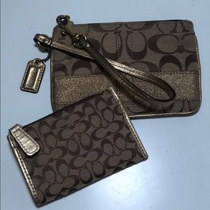 Gold Coach Wristlet and Card Pouch